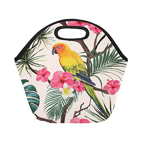 Insulated Neoprene Lunch Bag Beautiful Floral Summer Large Size Reusable Thermal Thick Lunch Tote Bags For Lunch Boxes For Outdoors,work, Office, ()