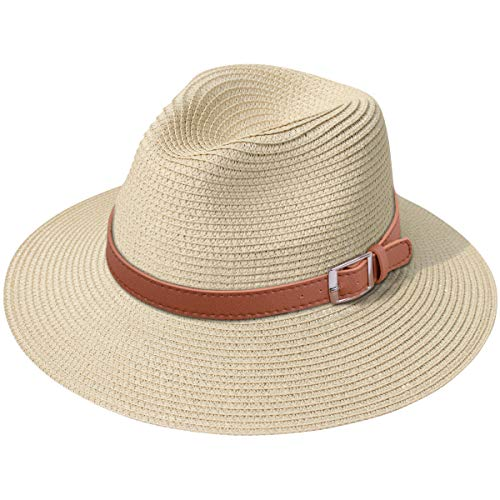 Lanzom Women Wide Brim Straw Panama Roll up Hat Fedora Beach Sun Hat UPF50+ (X Buckle Belt-Khaki) -