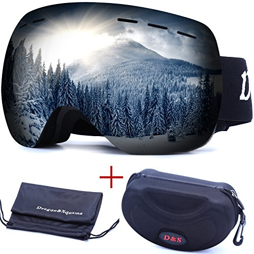 OTG Ski Goggles for Men Women, Detachable Dual Spherical REVO Lens UV400 Protection Anti Fog Skiing Goggle Over the Glasses for Snowboarding,Snowmobile Winter Snow Sport (Jet Black) Otg Over Glasses