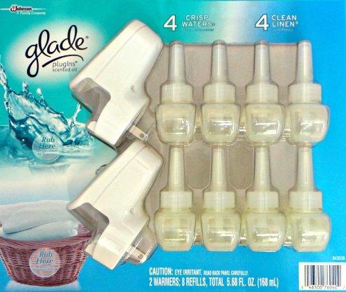 UPC 046500760402, Glade 2 Warmers 8 Refills - 4 Crisp Waters, 4 Clean Linen