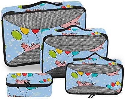 フライングニューイヤーピッグピピー荷物パッキングキューブオーガナイザートイレタリーランドリーストレージバッグポーチパックキューブ4さまざまなサイズセットトラベルキッズレディース