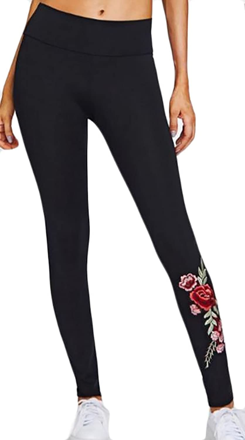 ARRIVE GUIDE Womens Embroidery Elastic High Waist Leggings Pants Outdoor