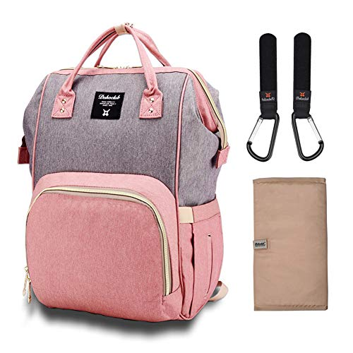 (Diaper Bag Organizer Insulated Waterproof Travel Nappy Backpack Large Capacity Tote Shoulder Nappy Bags for Mommy Backpack with Multi-Function, Durable and Stylish (Grey & Pink))