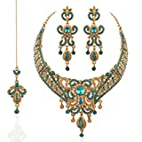 I Jewels Traditional Necklace Set with Maang Tikka for Women M4021Sb (Turquoise)