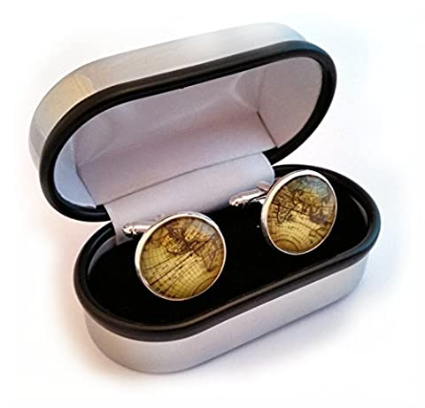 World/Earth Cufflinks and Cuff link presentation box by (Mens Sterling Silver Eagle)