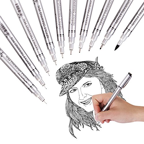 Precision Micro-Line Pens Fineliner Ink Pens,Waterproof Archival ink, Artist Illustration,Anime,Sketching,Technical Drawing,Office Documents&Scrapbooking A school gift ,Waterproof , Fade Proof