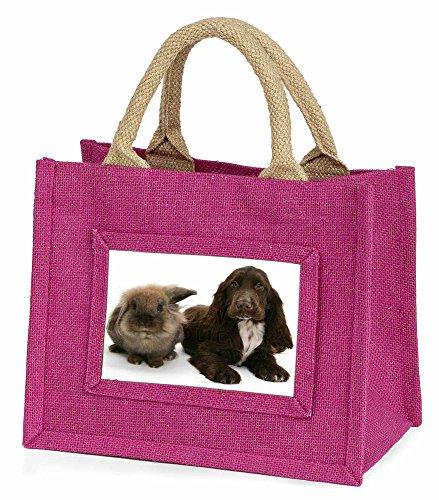 Advanta Cute Cocker Spaniel Hund und Kaninchen Little Mädchen Einkaufstasche Weihnachten Geschenk, Jute, pink, 25,5x 21x 2cm