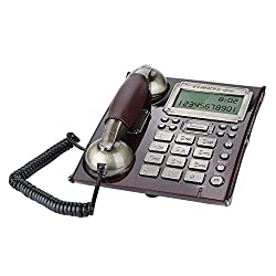 Richer-R Vintage Telephone, Wall Telephone European Antique Fixed Telephone Landline Wall Mounted Phone for Home with Personality Rings Multiple Alarm Clocks Volume Control(Rde Peach Wood)