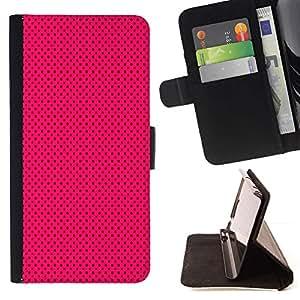 For HTC One M7 Case , Púrpura Negro Polka Dot Punk- la tarjeta de Crédito Slots PU Funda de cuero Monedero caso cubierta de piel