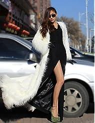 GS~LY Women Faux Fur Top , Belt Not Included / Hoodie Winter Long Fur Coat , fuchsia-xl , fuchsia-xl