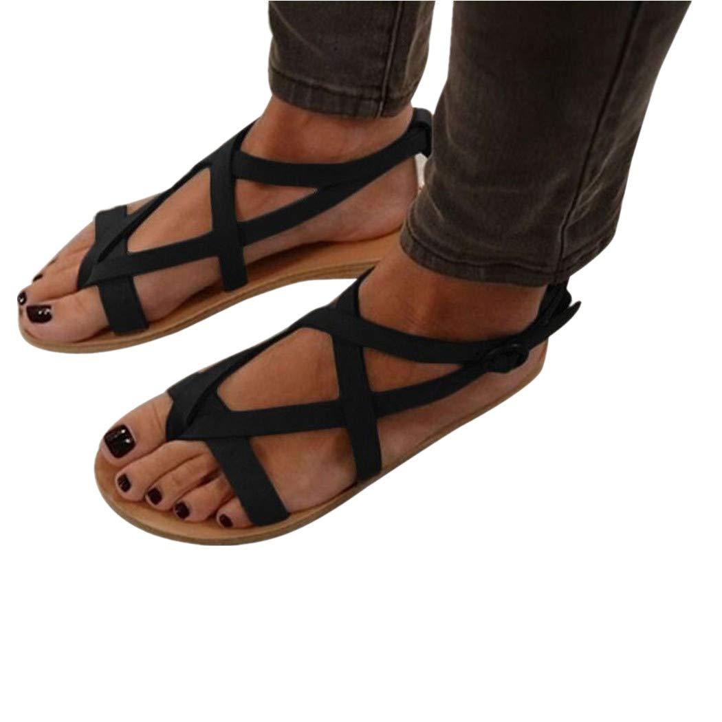 NINGSUN da Donna Cuneo Piatto Roma Legare Sandali Platform Summer Shoes/Le Signore Sandali Appartamento Testa Rotonda Sandali/Estivi Tacco Basso Peep Toe Scarpe
