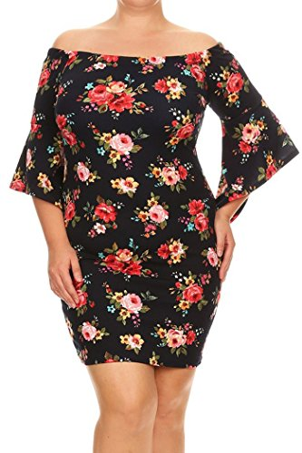 Womens Plus Size Print,Short Dress With Off The Shoulder Sleeves MADE IN USA – 1X Plus, Black-Red Pink Yellow Small Floral