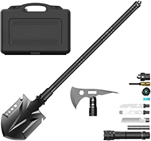 ChefsCloset Survival Shovel and Camping Axe Stainless Steel Tool Set with Case and Accessories - Portable, Compact Folding Camp Tactical Shovel with Utility Multitools