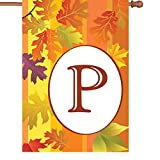 Premier Kites 52419 Fall Monogram House Flag, Letter P, 28-Inch For Sale