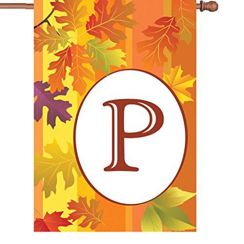Premier Kites 52419 Fall Monogram House Flag, Letter P, 28-Inch