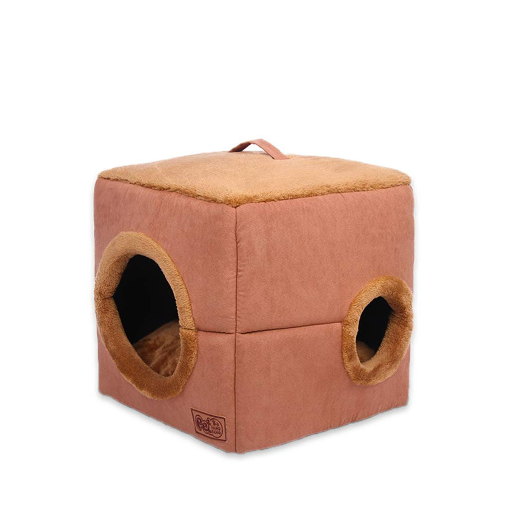 S Hxyan Dog House Small Medium-Sized Semi-Enclosed Cat Bed Doghouse Plush Cube Fluff Cotton Brown (Size   S)