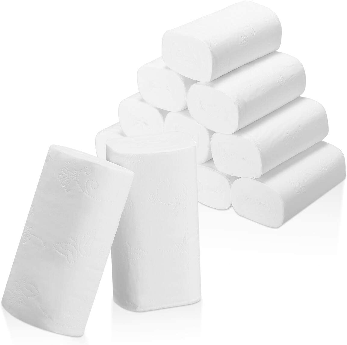 Strong and Highly Absorbent Hand Towels for Daily Use 4-Ply Embossed Toilet Paper Rolls,Soft Jumbo Rolls Commercial Home Kitchen Toilet Tissue Soft 10 Rolls Toilet Paper