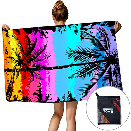 (Personalized Monogrammed Microfibre Beach Surf Sand Free Towel Beach Themed Colorful Rainbow Palm Coconut Tree Tropical Quick Dry Bath Pool Shower Towel Backpacking Yoga Blankets For Summer)