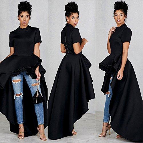 Women's Short Sleeve High Low Peplum Dress Womens High Collar Dress Vintage Lace Swing Dress(Black,L) by Kalinyer (Image #1)