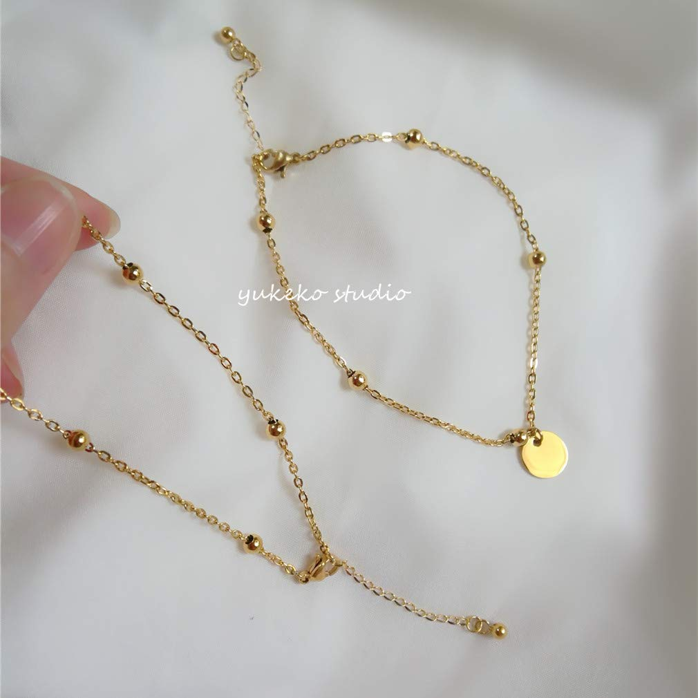 Exclusive Custom 18k Gold Beans Chain Flash disks Foot Anklet Ankle Bracelet Jewelry Kim peas Anklet Bare Chain 20 + 4cm Adjustable Link
