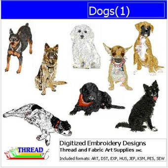 (Threadart Machine Embroidery Designs - Dogs(1) - USB Stick)