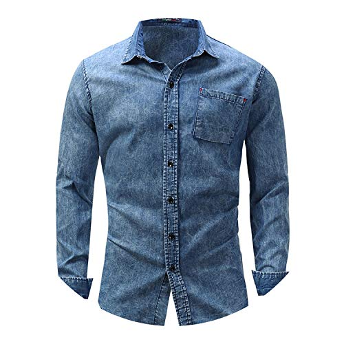 Casual Long Sleeve Shirt Men Denim Long-Sleeve Beefy, used for sale  Delivered anywhere in USA