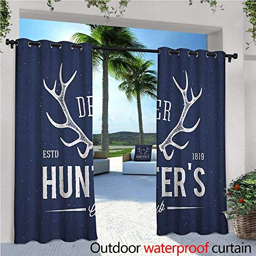 Hunting Exterior/Outside Curtains Deer Hunters Club Logo Design with Antlers Retro Typography Shabby Style Icon for Patio Light Block Heat Out Water Proof Drape W120