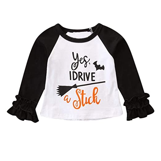 a8efd4a24 Amazon.com: vermers Clearance Sale Toddler Kids Halloween Party Clothes Baby  Girl Long Sleeve Letter Print T Shirt Tops Outfit: Clothing