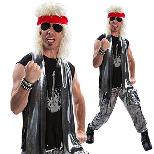 Mens Glam Rocker 1970s Fancy Dress Costume - 4 Piece Quality Costume (70s Glam Rock Fancy Dress)