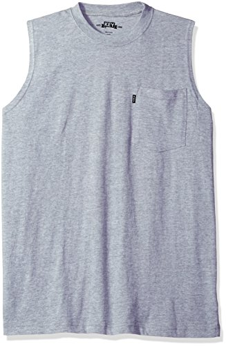 Key Apparel Men's Sleeveless Tee, Heather Grey, X-Large