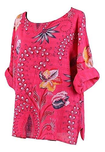 tama Camiseta complementan larga Un mujer para o manga de Me rosa Rojo oscuro wqdI5Cvwx