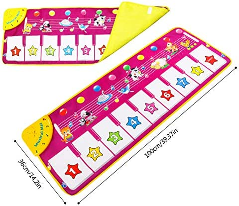 """M SANMERSEN Piano Mat, Musical Keyboard Playmat 39.5"""" Electronic Music Animal Touch Play Blanket Funny Xmas Gift Toy"""