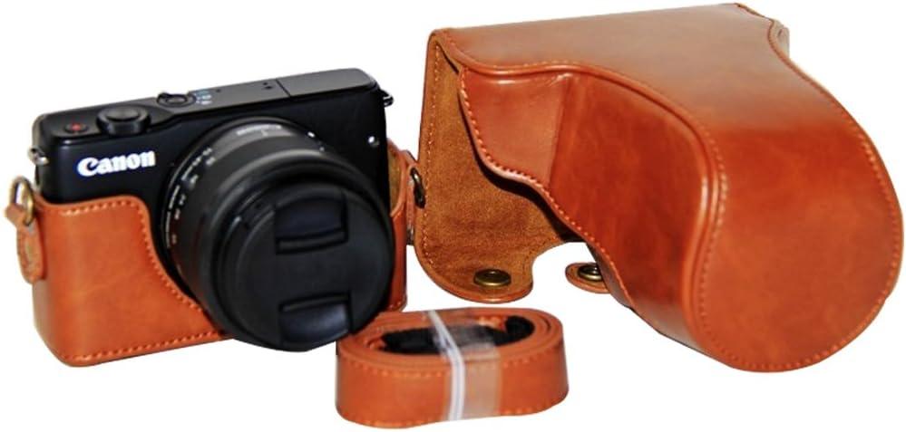First2savvv marrone Qualit/à premium Custodia Fondina in pelle sintetica per macchine fotografiche reflex compatibile con Canon EOS M100 EOS M10 con obiettivo 15-45mm XJD-EOS M100-09G11