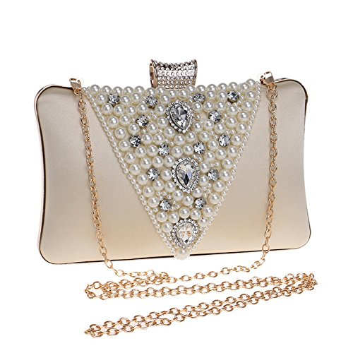 Chain Messenger Dress Shoulder Black Rhinestone Bag Vintage Bag Clutch Faux Ladies Bag Pearl Evening Small Women's 8PYqUg