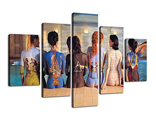 (Yatsen Bridge Wall Art Modern Canvas Pink Floyd Back Catalogue Painting Pictures for Living Room HD Print 5 PCS Artwork Artwork for Wall Decor Gallery-Wrapped Stretched Ready to Hang(60''Wx40''H))