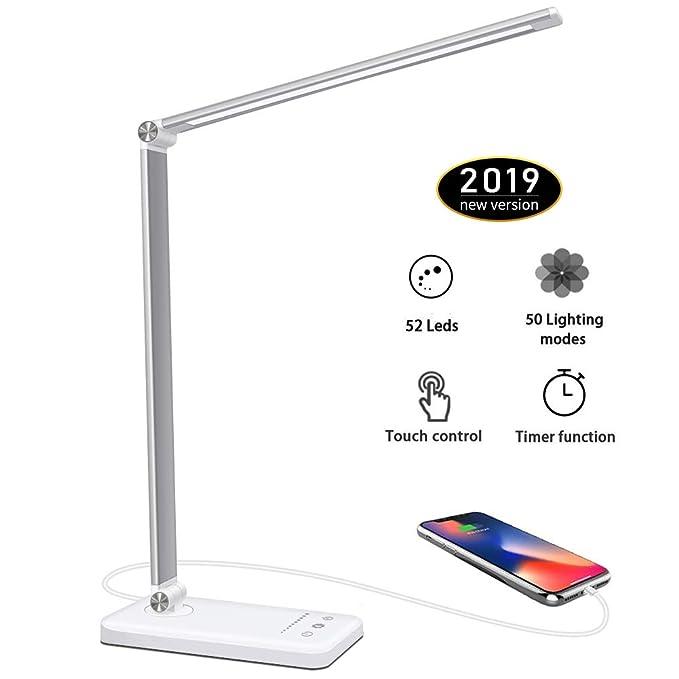125 opinioni per Lampada da Tavolo 52 LED,USB Ricaricabile Lampada da Scrivania,Dimmerabile 10