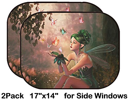 Liili Car Sun Shade for Side Rear Window Blocks UV Ray Sunlight Heat - Protect Baby and Pet - 2 Pack Image ID: 28921346 3D Computer Graphics of a Fairy and Flying Butterflies