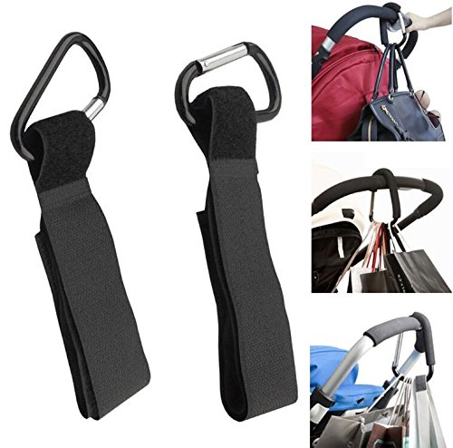 8pack of Stroller Hook- Hook Your Shopping & Bags Safely on Your Stroller, Pushchair or Pram. Universal fit, Black by Convenient-life (Image #3)