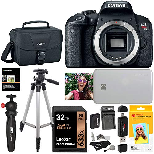 Canon EOS Rebel T7i DSLR Camera Body with Kodak Mini 2 Printer and Paper, Memory Card, Tripods, Camera Bag, Cleaning Kit, Memory Card Reader, Spare Battery Bundle