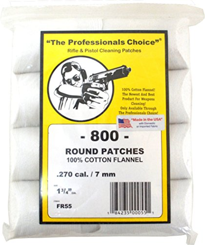 The Professional's Choice Pistol/Rifle Cotton Flannel 1 3/4-Inch Round Gun Cleaning Patches (800-Pack), .270-Calibre/7mm
