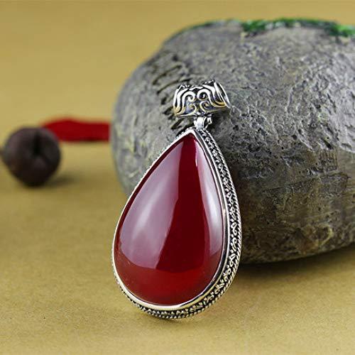 (Mayanyan S925 Sterling Silver Hand-Set Inlaid red Corundum Pendant Natural Jade Necklace Ladies Gift)