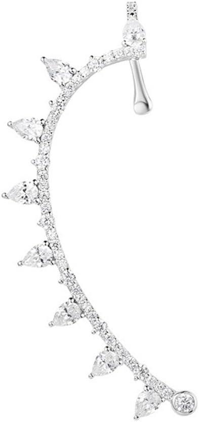 Sencillos pendientes de joyería elegante Mujeres Niñas Crystal Ear Cuffs Hoop Climber Pendientes de plata esterlina Stud Diamante simulado Ear Crawler Cuff Pendientes Regalo de cumpleaños del día de S
