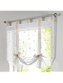 1pcs Floral Embroidered Tie Up Roman Shades Tap Top LivebyCare Sheer  Balcony Window Balloon Curtain