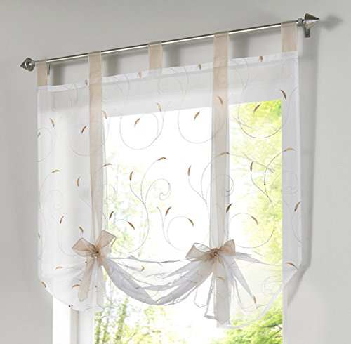 (LivebyCare 1pcs Floral Embroidered Tie-Up Roman Shades Tap Top Sheer Balcony Window Balloon Curtain Voile Drape Bowknot Drapery Valance Panels for Family Room Decor Decorative)