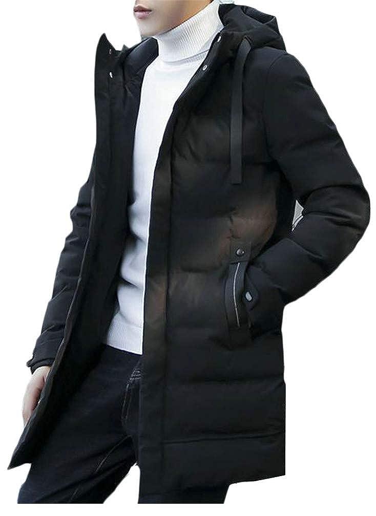Blyent Mens Quilted Hoody Pocket Thicken Warm Midi Jacket Parka Coat