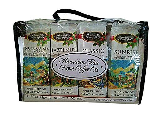 Hawaiian Isles 1.75 oz. Kona Coffee 12-pack Sampler Assortment Christmas Gift Tote Bag (Hawaiian Christmas Gift Baskets)