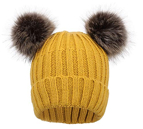 ARCTIC Paw Cable Knit Beanie with Faux Fur Pompom Ears Yellow ()