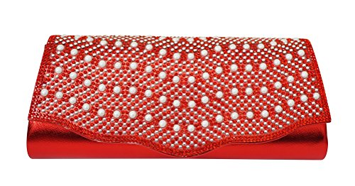 Chicastic Rhinestones Clutch and Pearls With Patent Shiny Wedding Red Evening Pearl Leather ABwnxUgfqA