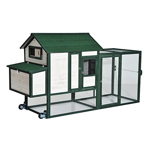 Pawhut-100-Wooden-Chicken-Coop-w-Run-Nesting-Box-and-Wheels-Green-and-White