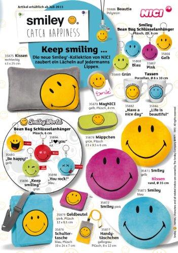 Nici 35876 - Borsa a tracolla di peluche Smiley, 19 x 24 x 7 cm, colore: Blu